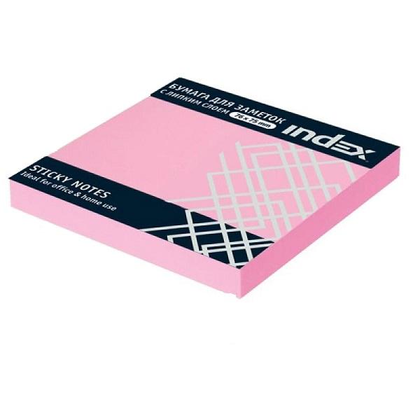 Бумага с клейким краем 76*75 INDEX розовая
