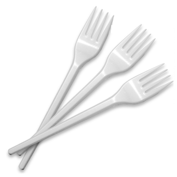 Вилка белая пластиковая одноразовая