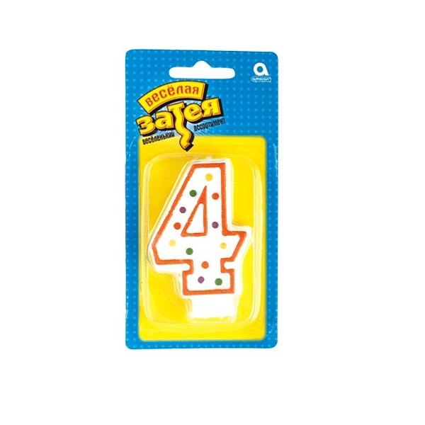 """свеча цифра """"4"""""""