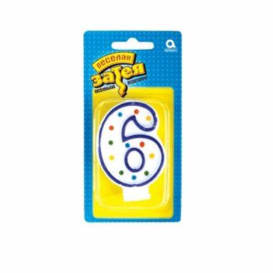 """свеча цифра """"6"""""""