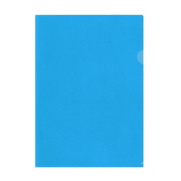 Папка-уголок прозрачная голубая