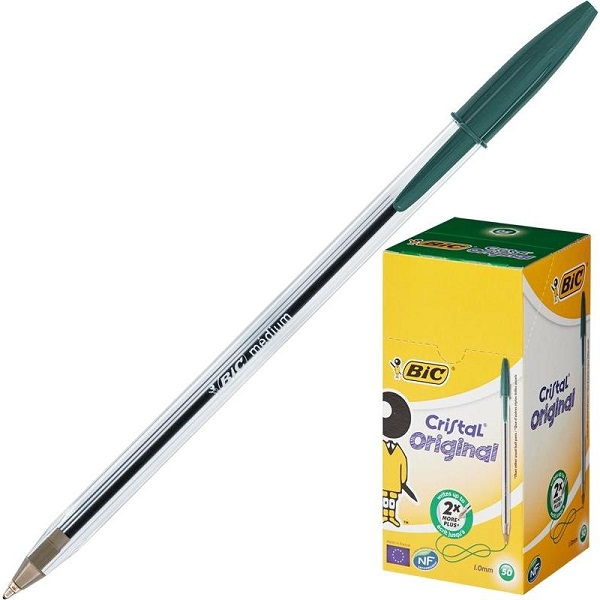 зеленая шариковая ручка BIC Cristal